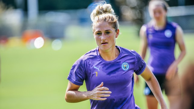 MIDFIELD ENGINE: New recruit Laura Coombs puts in the hard yards
