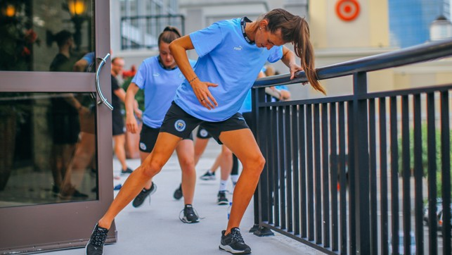 LEG DAY: Jill Scott leads the line during recovery