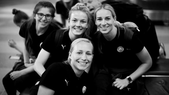 FANTASTIC FOUR: Emma Bissell, Lauren Hemp, Pauline Bremer and Gemma Bonner pose for a group shot, as Janine Beckie grabs the camera!