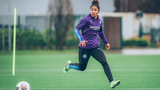 OFF TO A FLYER: Demi Stokes shows her rapid turn of speed during City's final training session ahead of the the trip to tackle Chelsea