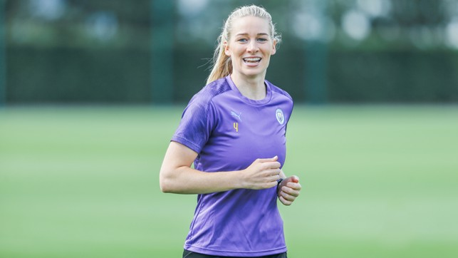 BACK IN BUSINESS: Gemma Bonner also looked delighted to be back at work
