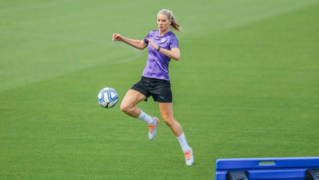 KNEES UP: Gemma Bonner also went through some skills routines