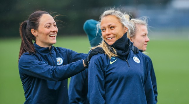 BACK IN THE OLD ROUTINE: Megan Campbell and Claire Emslie are in relaxed mode