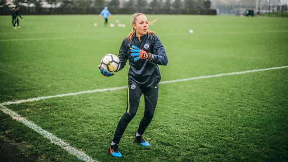 Ellie Roebuck gets to grips on the training pitch