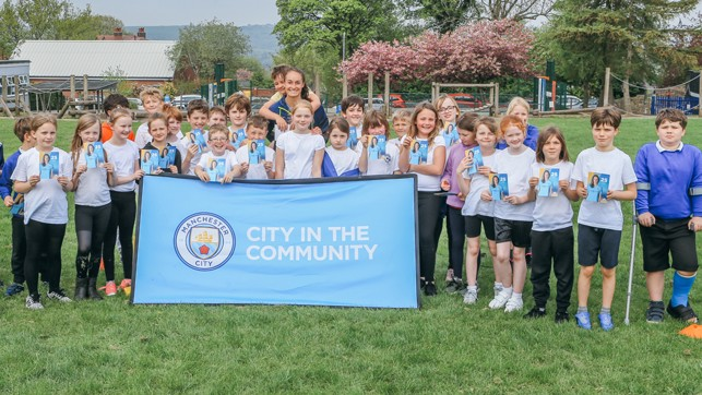 CITC: The kids posed for a group photo with the Blues midfielder