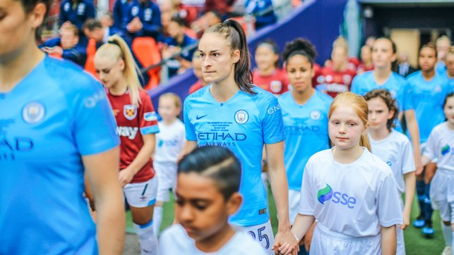 WEMBLEY: Tyler walks out with Tessa at the FA Women's Cup final