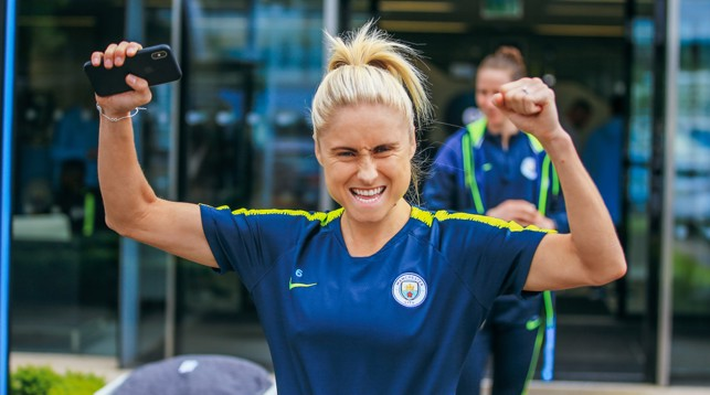AYE AYE SKIPPER! Steph Houghton in the mood for a trophy lift