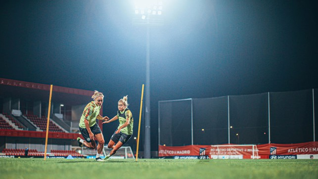ALL LIT UP: The City squad were at full throttle during Tuesday's late night session