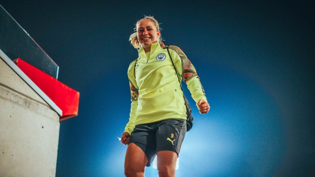 SPANISH HIGH: Pauline Bremer looks happy after our final pre-match preparations