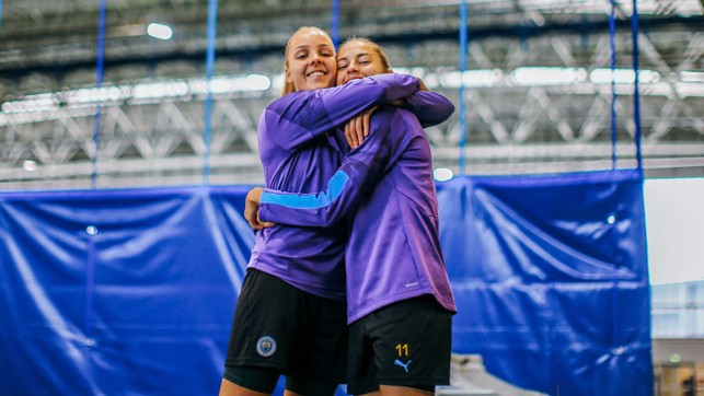 SHE'S A 'KEEPER: Shot-stopper Ellie Roebuck and in-form forward Janine Beckie reunite