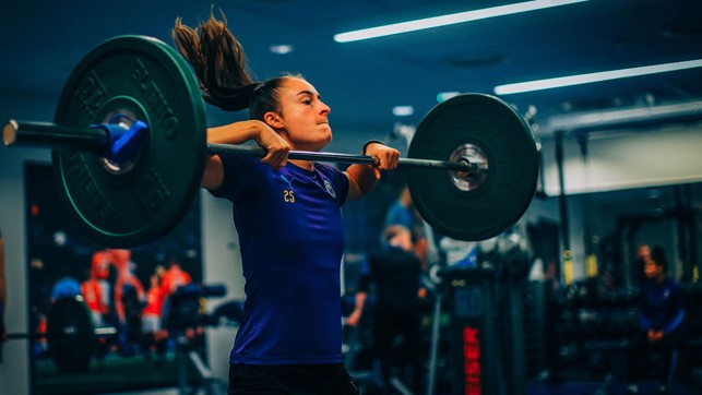 GOOD THINGS COME TO THOSE WHO WEIGHT: Tessa Wullaert flexes the muscles