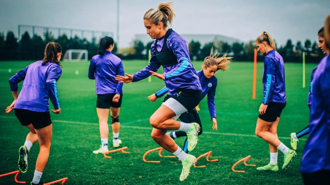 HOP, SKIP AND JUMP: Captain Steph Houghton leads by example