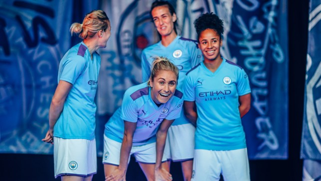 FREEZE FRAME: Ellen White, Steph Houghton, Jill Scott and Demi Stokes share a smile during the photo shoot