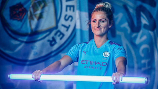 LIGHTNING STRIKE: Summer signing Laura Coombs gets in the derby mood