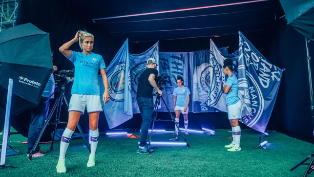 TIME OUT: Steph Houghton and Co take a breather during the photo session