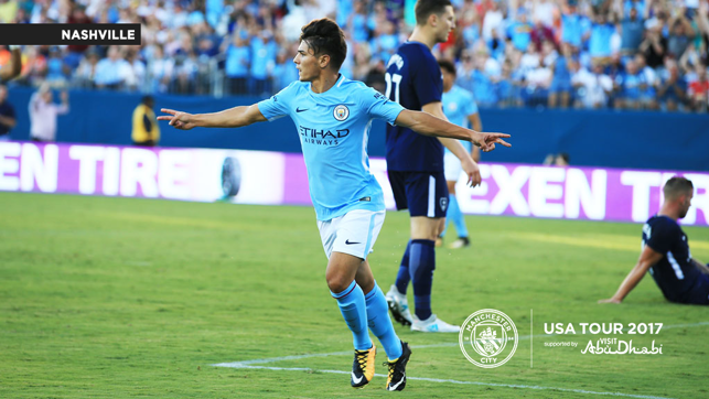 GOLDEN BOY: Brahim Diaz celebrates his goal