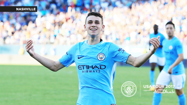 STAR BOY: Phil Foden is happy about the win