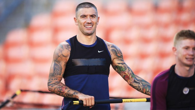 VEST FOOT FORWARD: Aleks Kolarov enjoys the session