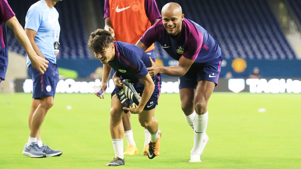 YOUTH AND EXPERIENCE: Brahim Diaz and captain Vincent Kompany enjoying life in the US