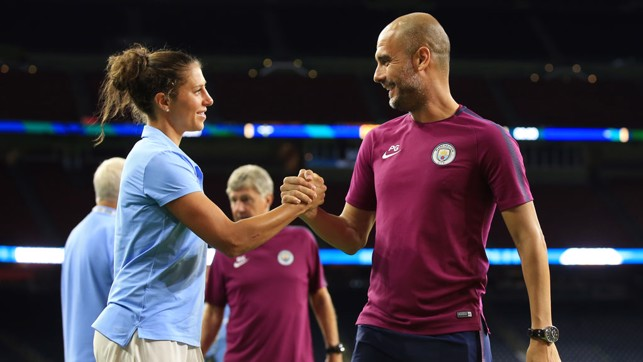 FRIENDS REUNITED: Carli Lloyd and Pep Guardiola meet again