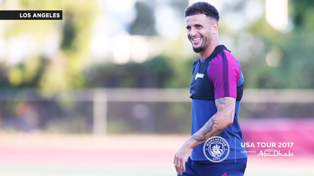 ALL SMILES: Kyle Walker enjoying himself as the sun sets in Los Angeles.