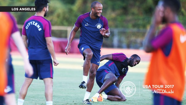 THE SKIPPER: Vincent Kompany gets warmed up for the opening training session.