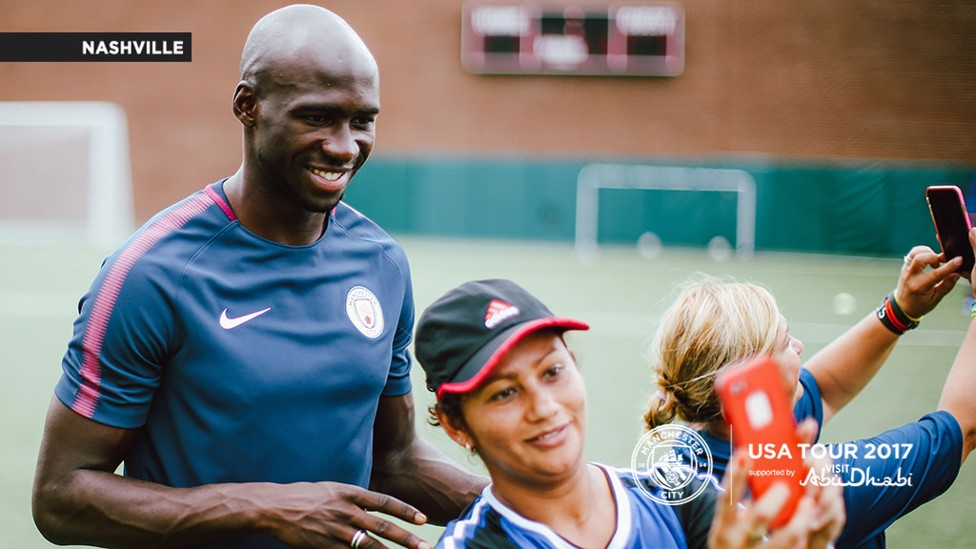 SELFIE: One of the players gets a photo with Eliaquim Mangala.