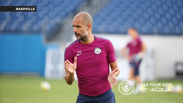 THE BOSS: Pep Guardiola delivers instructions during the session.