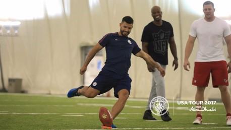 TAKING A PUNT: Aguero goes NFL