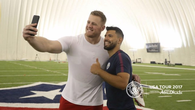 SELFIE TIME: Watt and Aguero smile for the camera