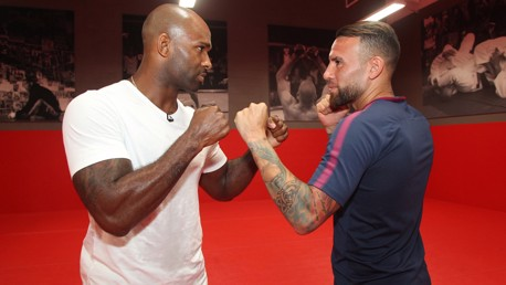 FACE OFF: The traditional pre-UFC fight pose!