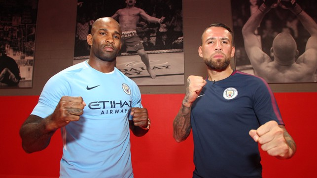BLUE MANUWA: The Light Heavyweight star tries on his 2017/18 home shirt!