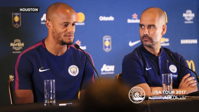 PRESS CONFERENCE: Vincent Kompany and Pep Guardiola faced the media ahead of the first game of the US tour.