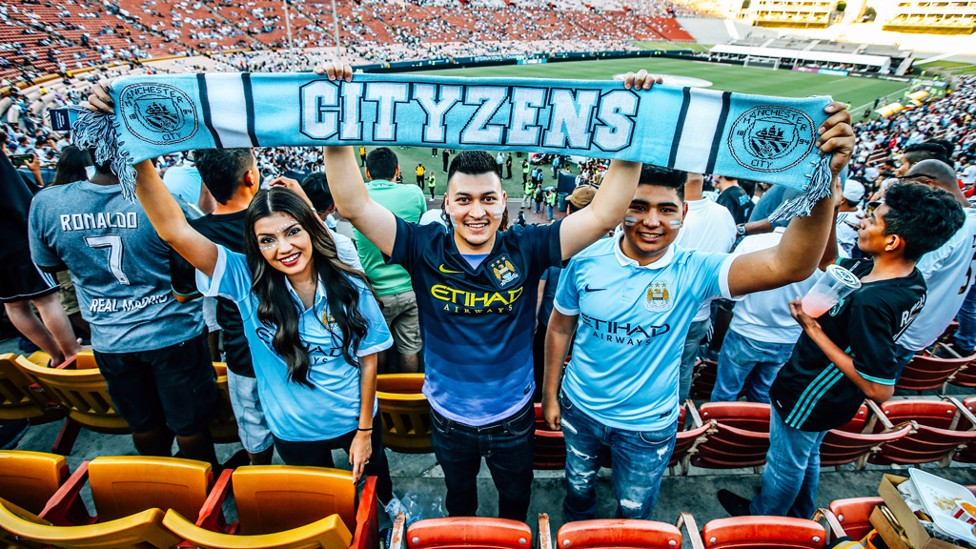 REAL DEAL: City fans at the Coliseum to watch the Madrid game