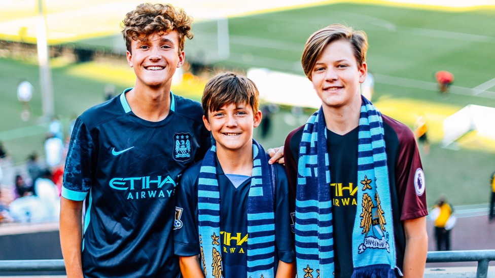 ALL SMILES: Three young City fans in LA