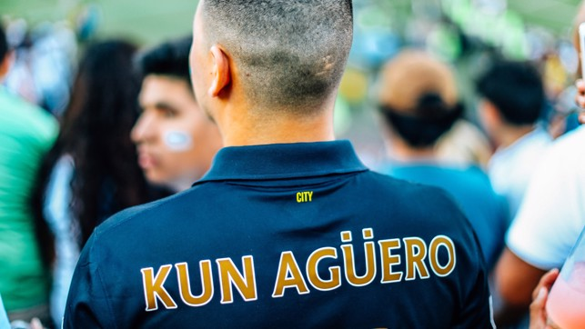 STRIKE STAR: Aguero was a popular name on the back of fans' shirts