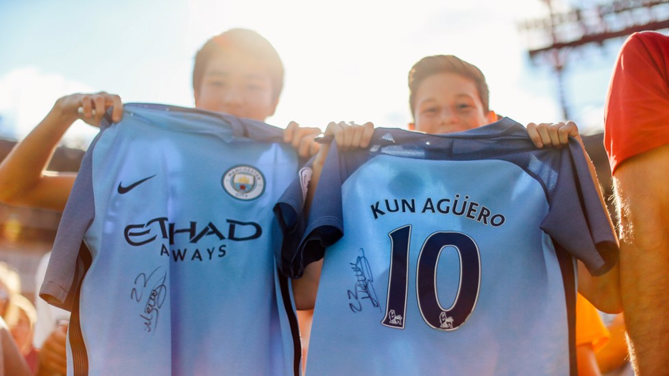 SHIRT STARS: Young City fans in Nashville