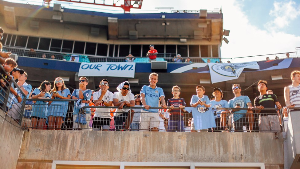 SKY BLUE THINKING: City fans under the Nashville sun