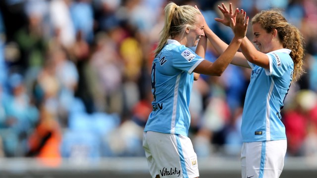 Toni Duggan and Daphne Corboz celebrate against Birmingham