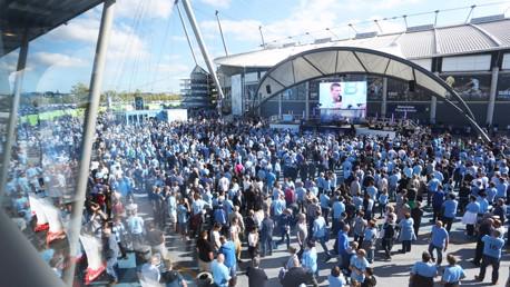 CITY SQUARE: Pre-match entertainment.