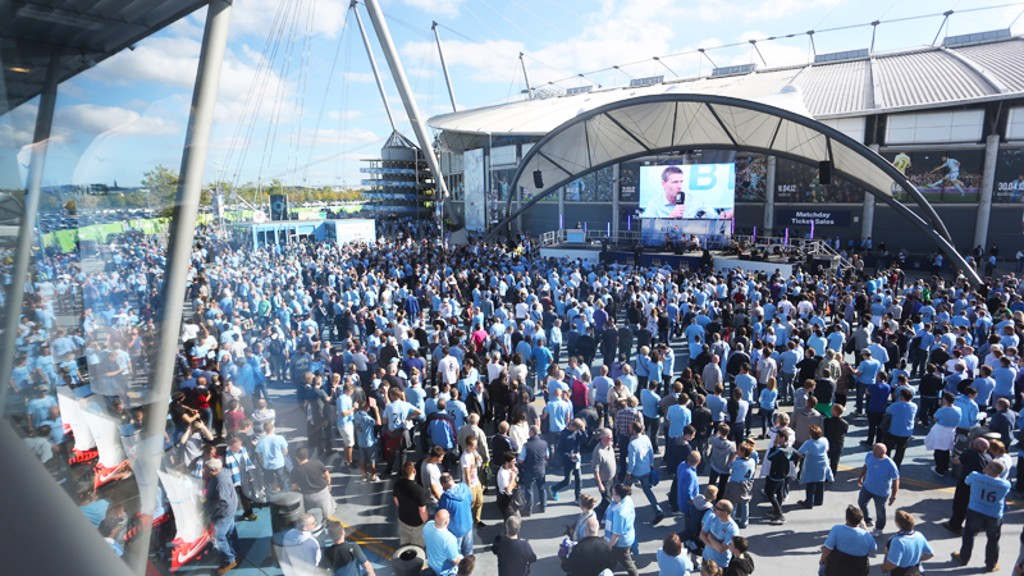 CITY SQUARE: Pre-match entertainment.
