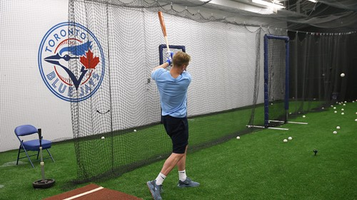 Joe Hart in the batting cage