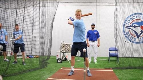Joe Hart swinging the bat