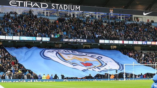 The new Manchester City badge is revealed to fans at City v Sunderland