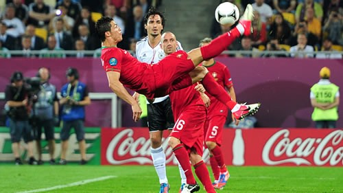 Ronaldo attempts an overhead kick at Euro 2012