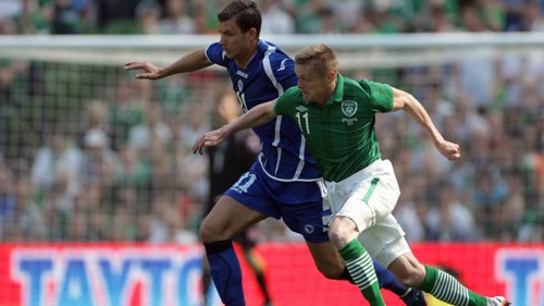 Edin Dzeko playing for Bosnia V Ireland