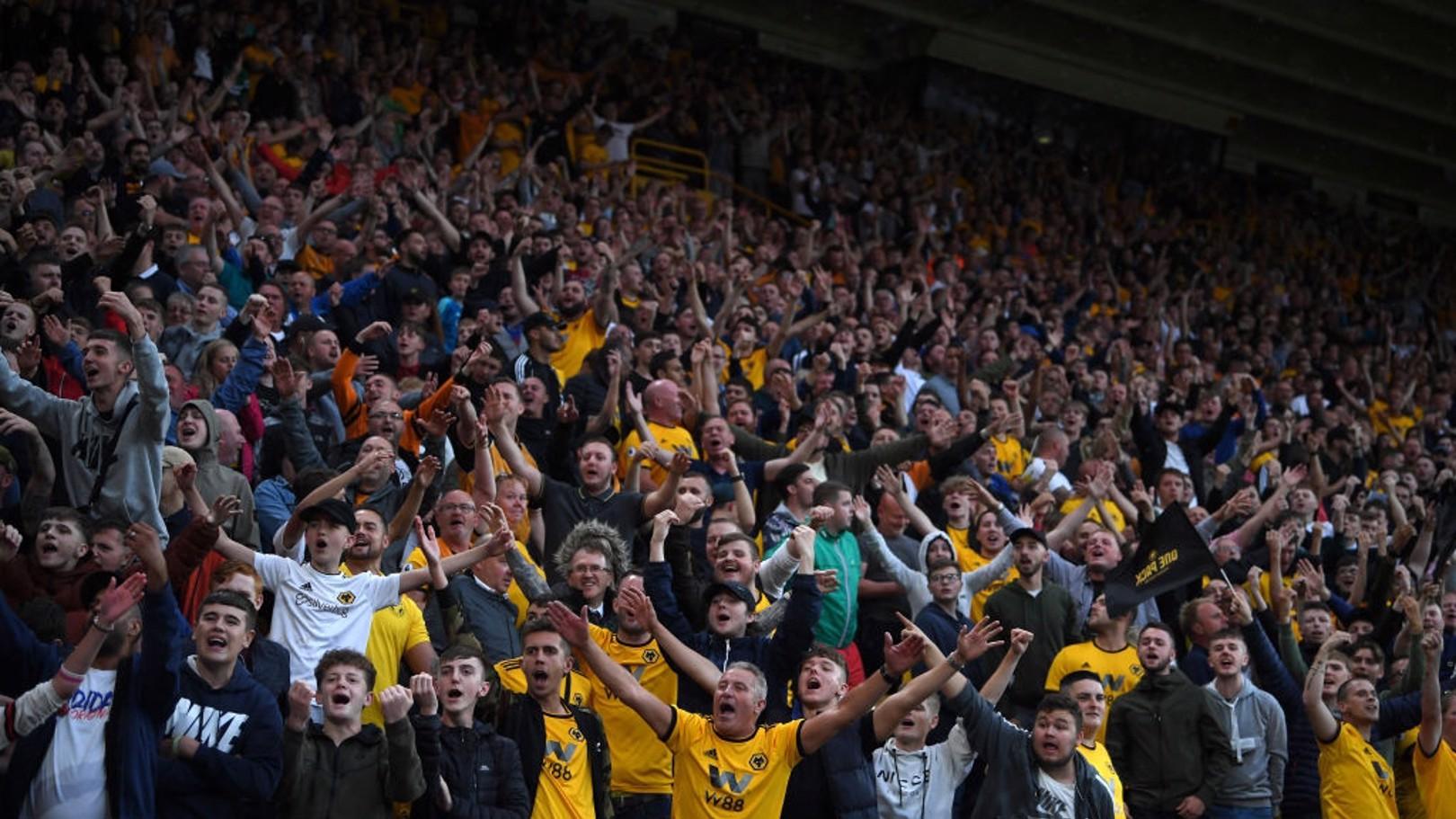 Los aficionados del Wolverhampton en el Molineux.