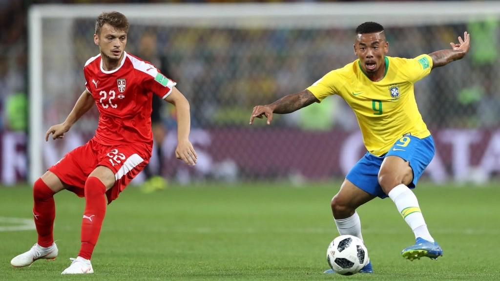 GABRIEL JESUS. El '9' de Brasil ante Serbia.