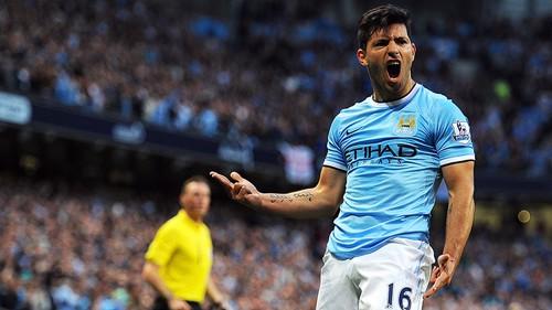 Sergio Aguero celebrating goal PA-17362637