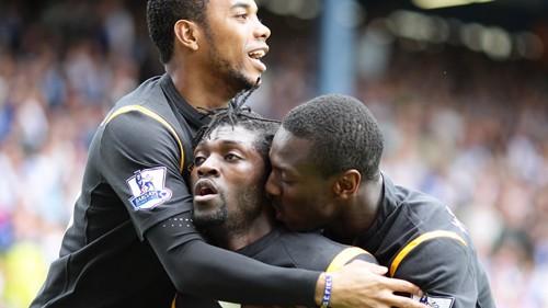 Adebayor celebrates
